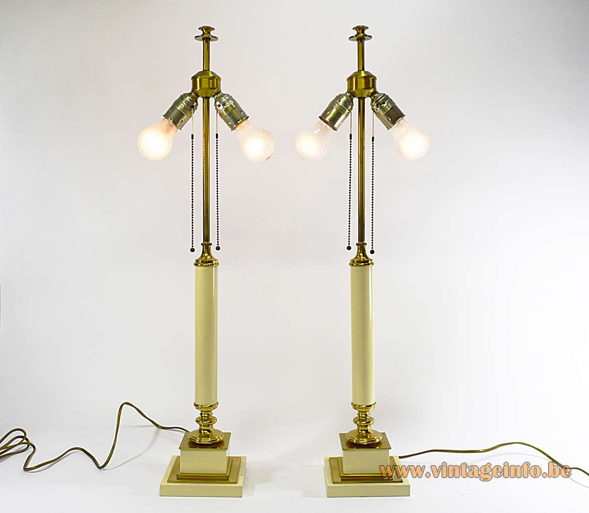 Neoclassical Table Lamps Square base brass parts vanilla/cream painted wood round cardboard lampshades 1970s 1980s