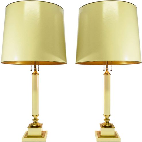 Neoclassical table lamps square vanilla cream base brass parts cardboard lampshades 1970s 1980s Deknudt Lighting Belgium