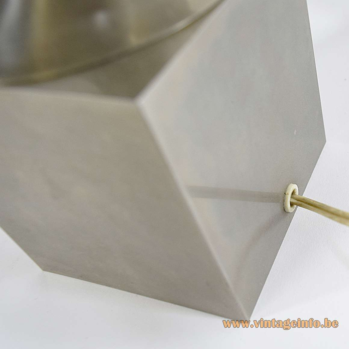 Nickel-plated Modernist Table Lamp geometric square base Saturn round lampshade 1960s 1970s MCM