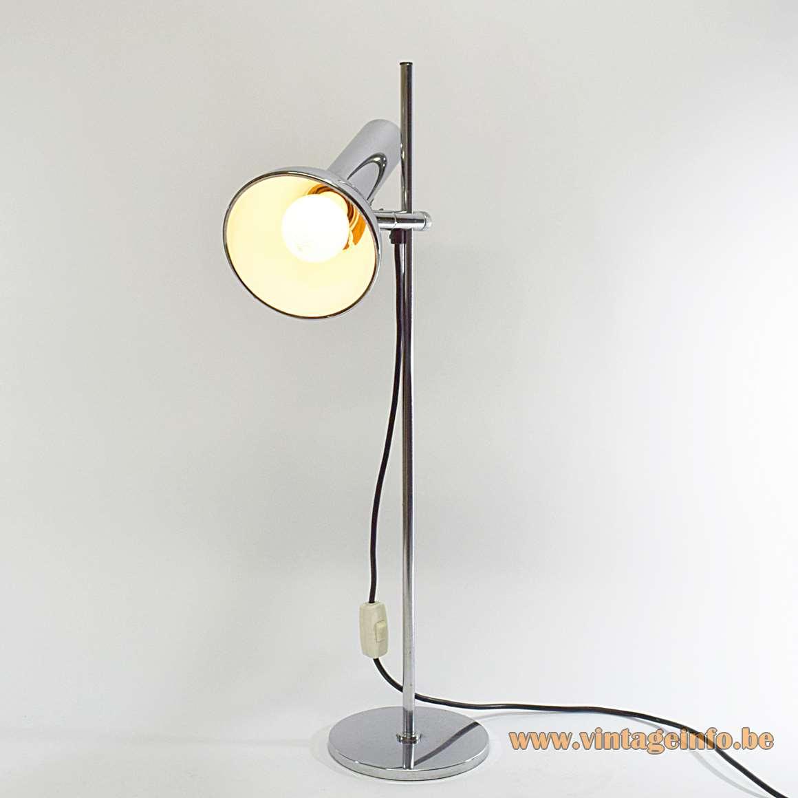 OMI Chrome Desk Lamp DBGM Koch & Lowy metal Sölken Hustadt Leuchten Fase Madrid 1970s MCM
