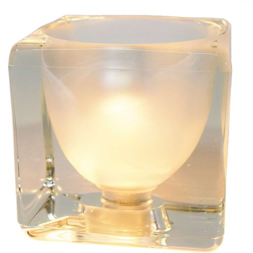 Peill + Putzler Ice Cube Table Lamp 1970s clear and frosted pressed glass Germany MCM 1980s E14