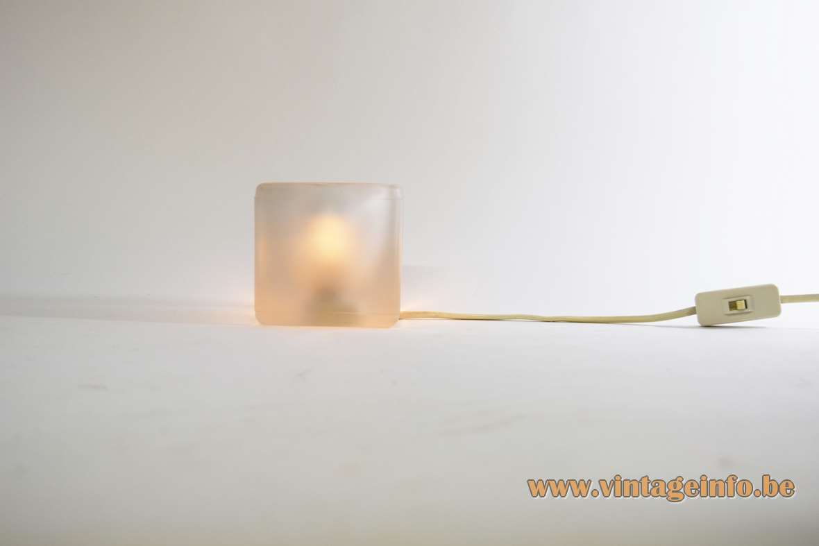 Cube table lamp Peill + Putzler frosted pressed glass light E14 socket 1970s 1980s MCM Mid-Century Modern Germany
