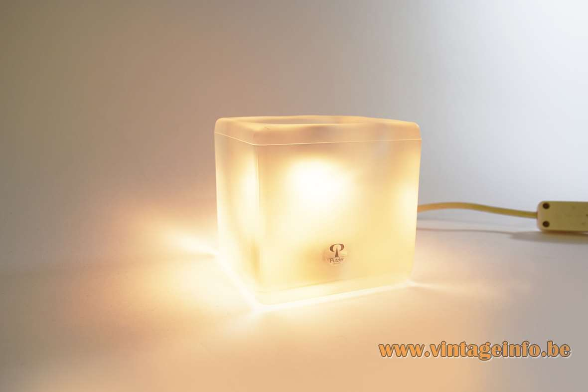 Peill + Putzler frosted ice cube table lamp clear square cuboid glass lampshade E14 socket 1970s 1980s