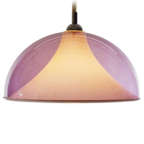 Acrylic rise & fall pendant lamp clear purple half round mushroom lampshade white Perspex diffuser 1960s 1970s