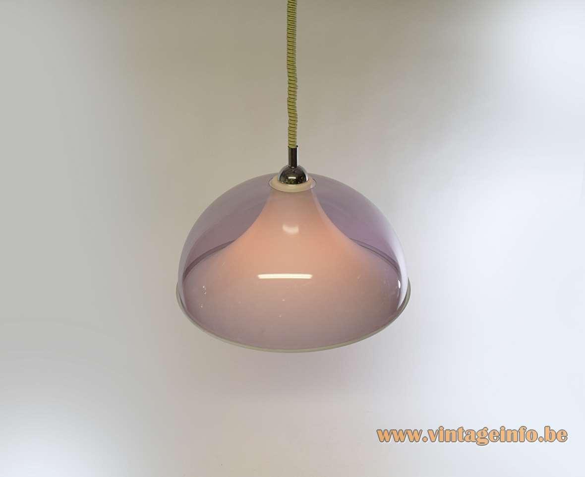 Rise & fall pendant lamp purple clear acrylic Perspex white diffuser design: Gino Sarfatti, Yki Nummi 1960s 1970s MCM Mid-Century Modern