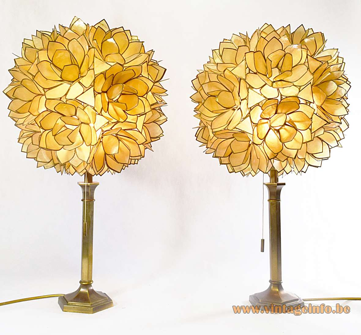 Placuna placenta table lamps brass hexagonal rod Capiz shells globe 1960s 1970s vintage windowpane oyster