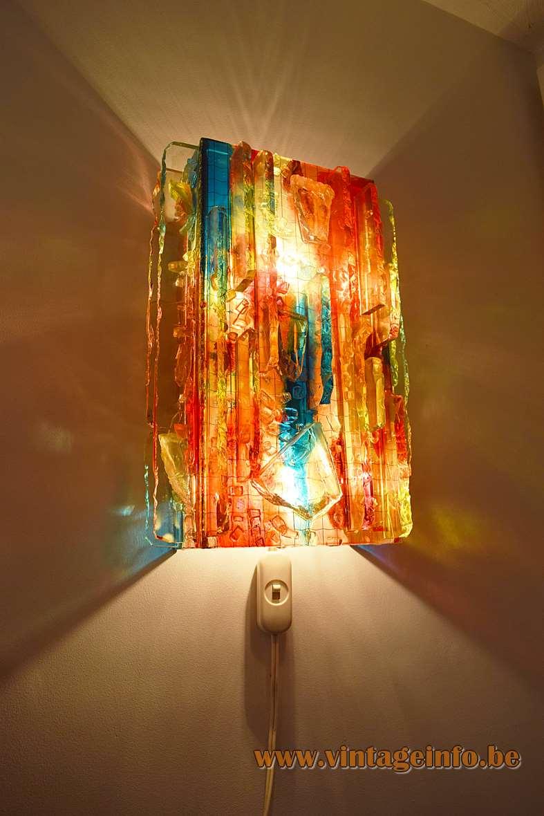 Raak Chartres red glass wall lamp broken parts blocks design: Willem van Oyen 1960s 1970s brutalist
