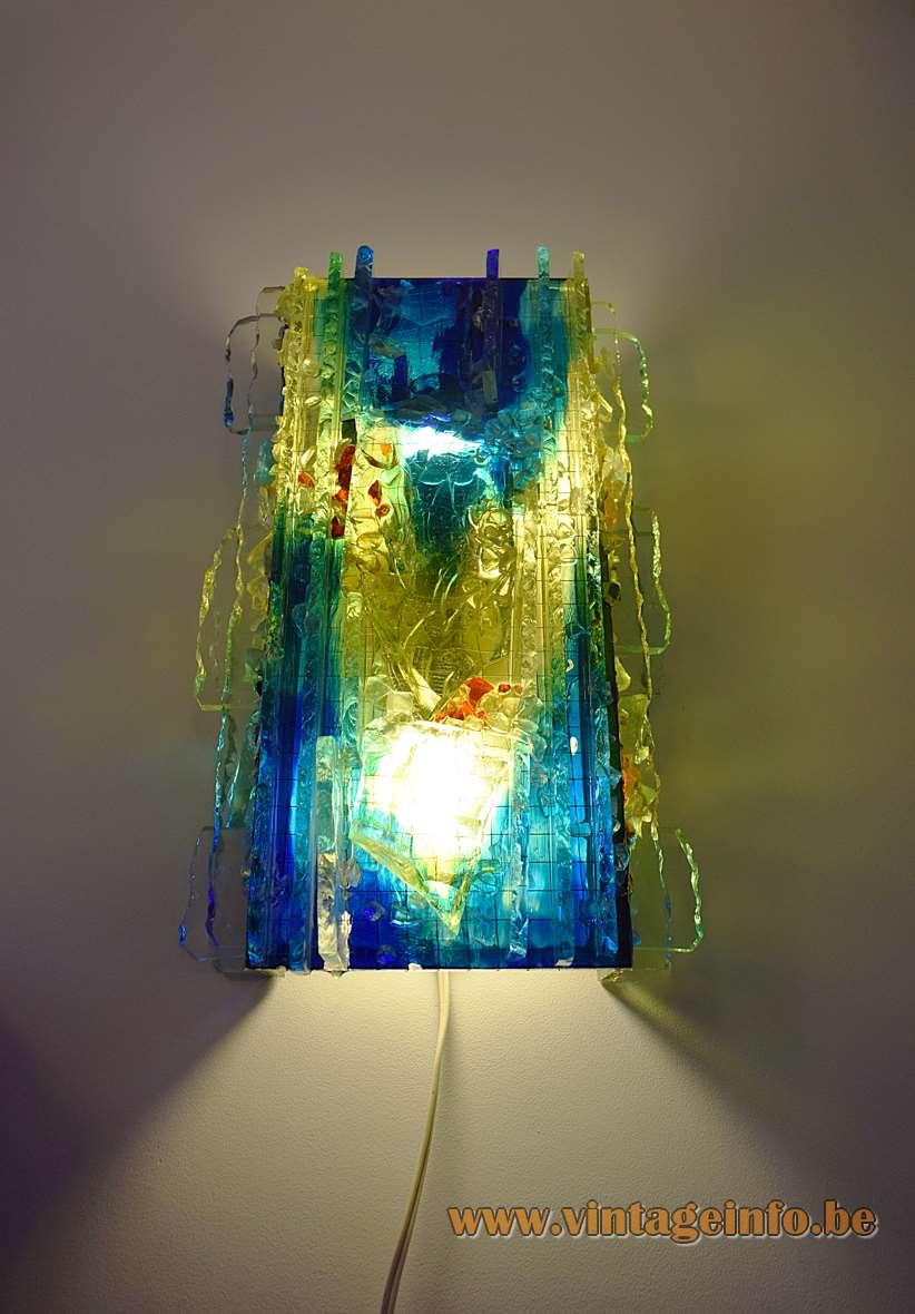 Raak Chartres blue-green brutalist glass wall lamp Design: Willem van Oyen Sr 60s/70s