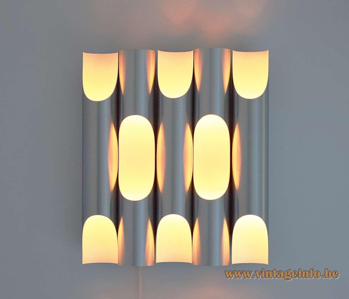 Raak Fuga wall lamp design Maja Liisa Komulainen 1950s 1960s 1970s aluminium organ pipes MCM Mid-Century Modern