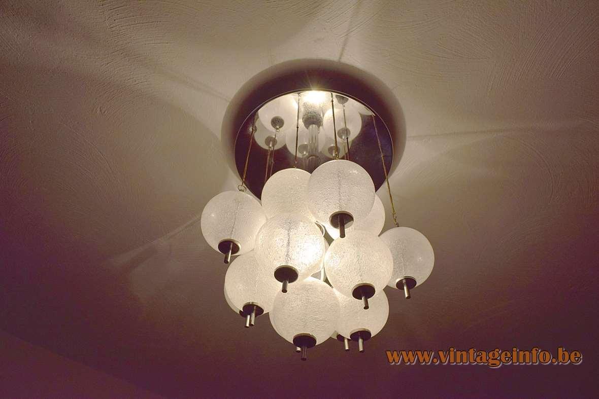 Raak Sterrenbeeld Ceiling Lamp flush mount round chrome plate chains glass balls/globes 1960s 1970s MCM