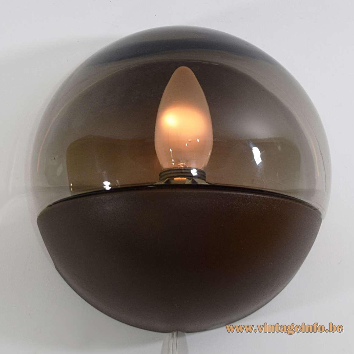 Smoked Glass Wall Lamp HP Leuchten Germany half round globe brown plastic MCM 1970s