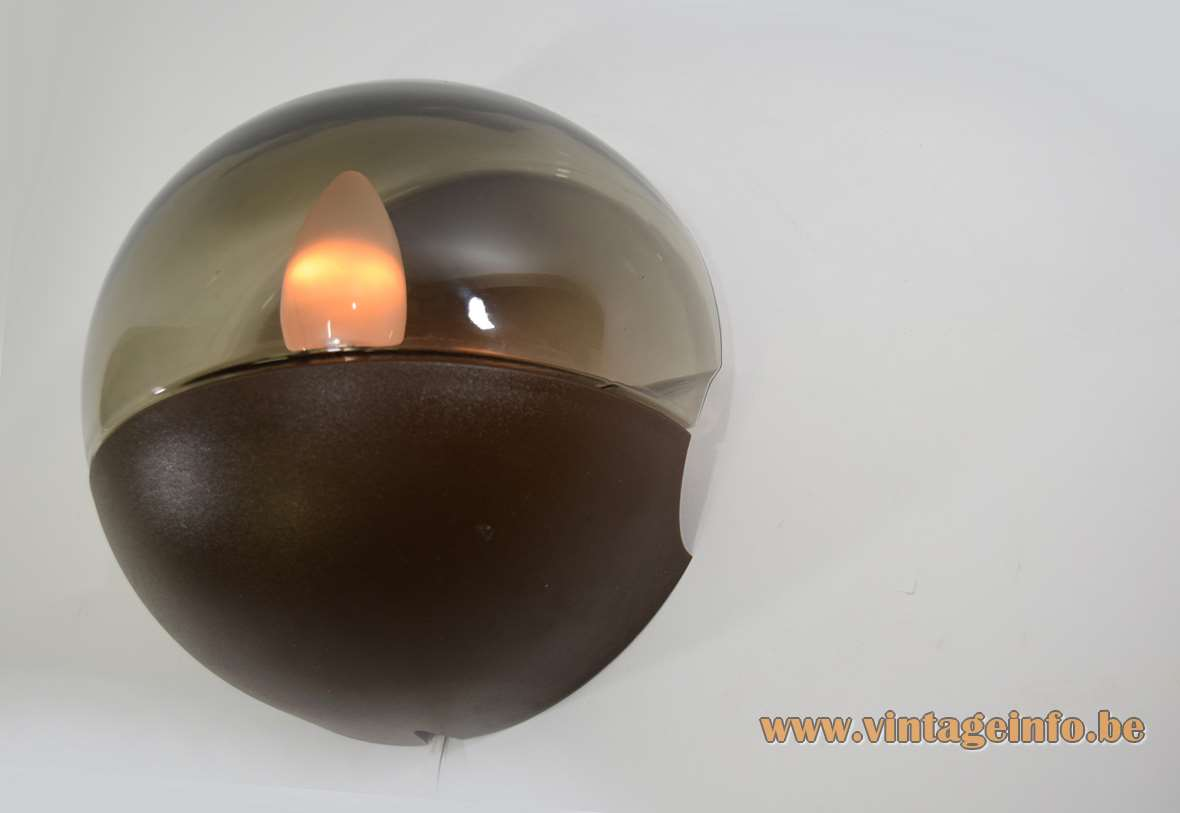 Smoked glass wall lamp made of half round glass globe brown plastic HP Leuchten Germany 1970s