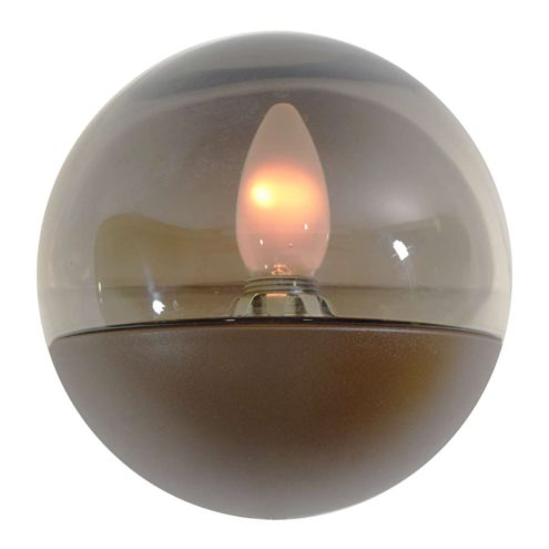 Smoked glass wall lamp half round glass globe lampshade brown plastic base HP Leuchten Germany 1970s