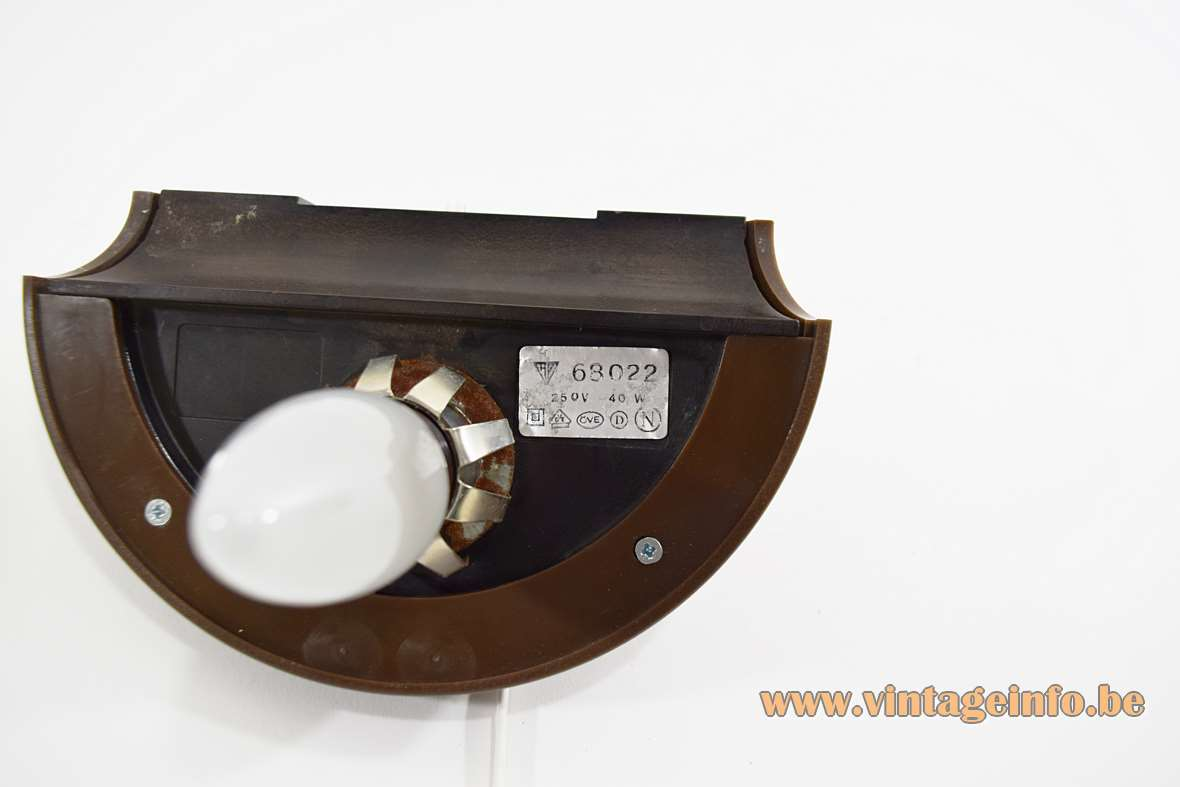 Smoked glass wall lamp made of half round glass globe brown plastic HP Leuchten Germany inside