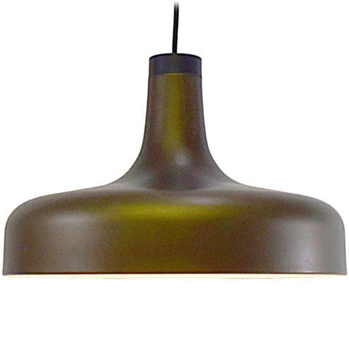 Staff pendant lamp 5407 aluminium brown-green metallic paint mushroom black plastic top 1970s MCM Mid-Century Modern