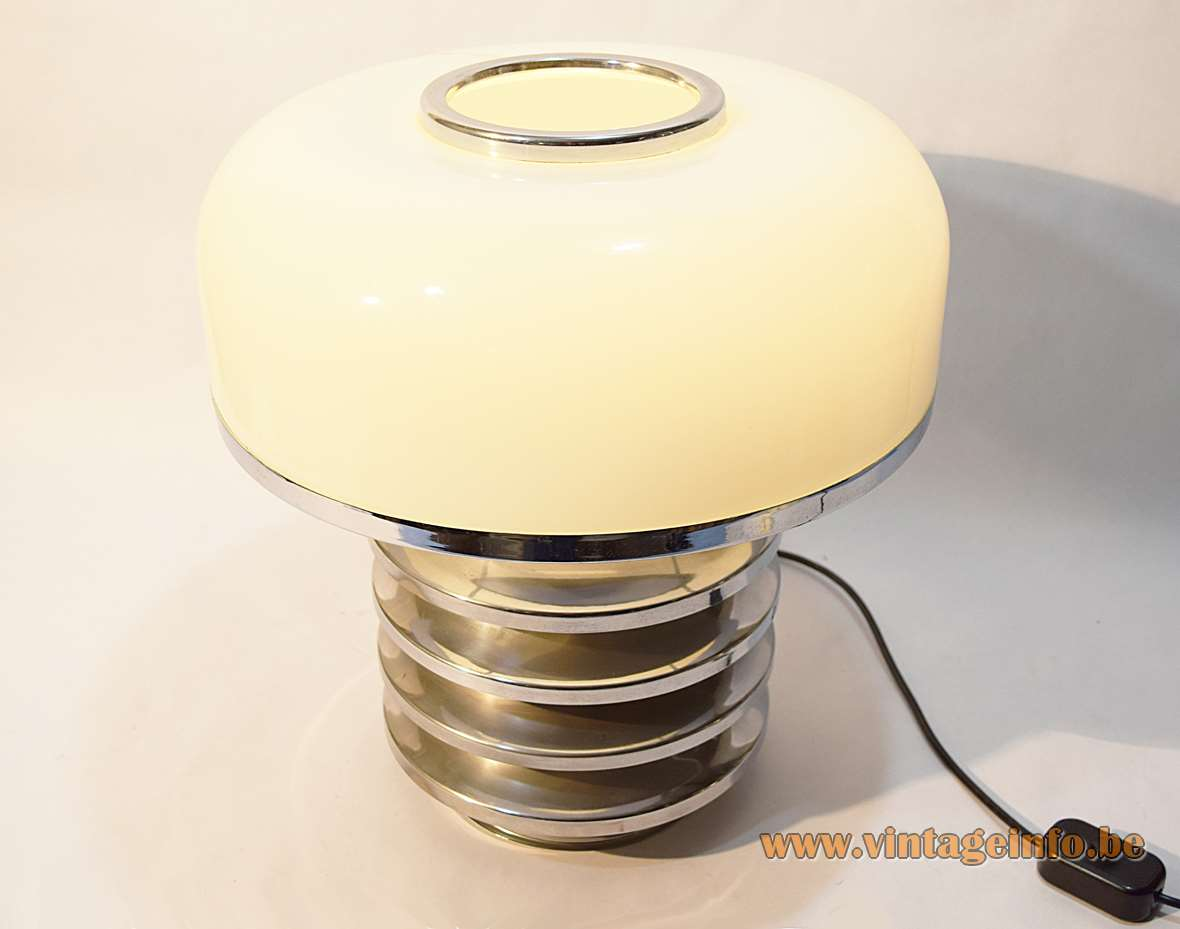 Table lamp with 6 stacked chrome rings and an white opal glass lampshade 2 E27 sockets
