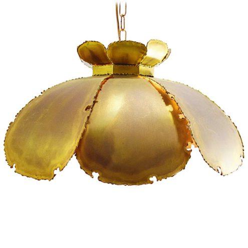Svend Aage Holm Sørensen pendant lamp burned brass flower leaves 1960s 1970s brutalist vintage