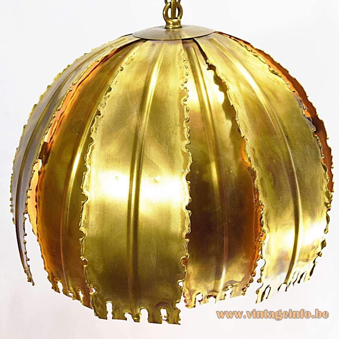Svend Aage - Holm Sørensen & Co Pendant Lamp 6404 burned brass brutalist 1960s 1970s MCM