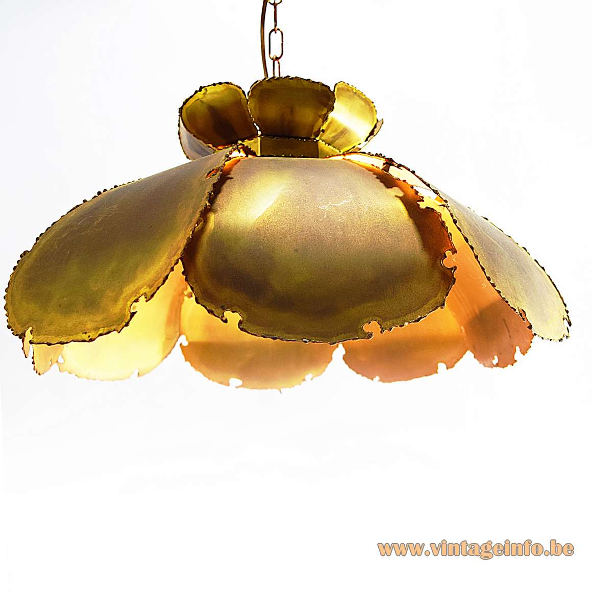 Svend Aage Holm Sørensen pendant lamp burned brass flower leaves 1960s 1970s brutalist vintage