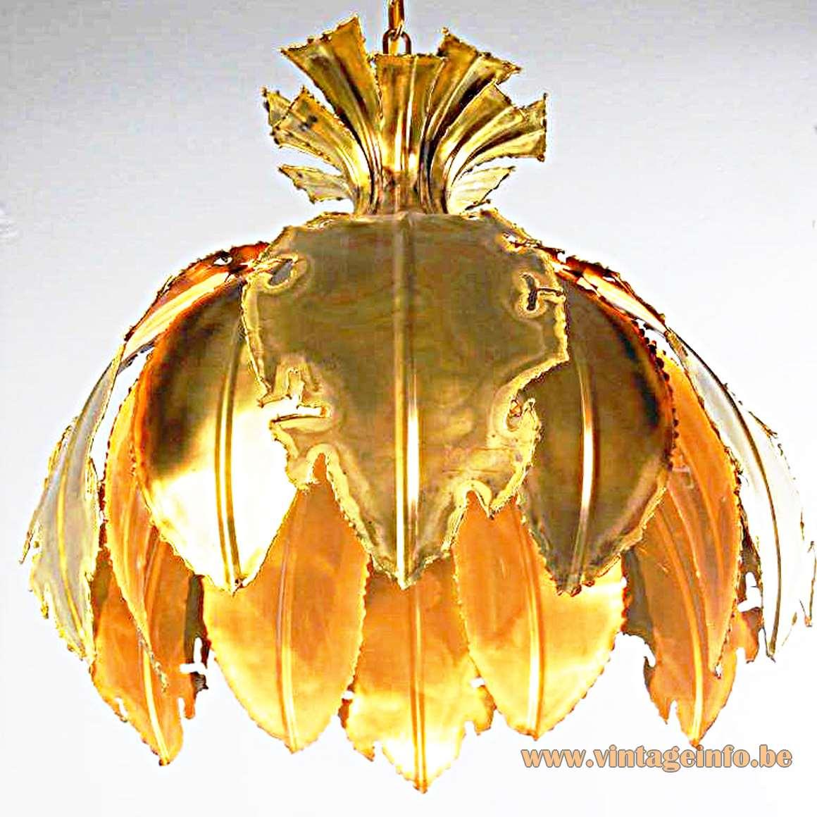 Svend Aage - Holm Sørensen & Co Pendant Lamp burned brass brutalist 1960s 1970s MCM