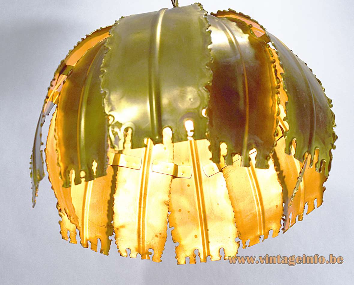 Svend Aage Holm Sørensen burned brass brutalist pendant lamp, Model 6404, 60s/70s Sorensen & Co.