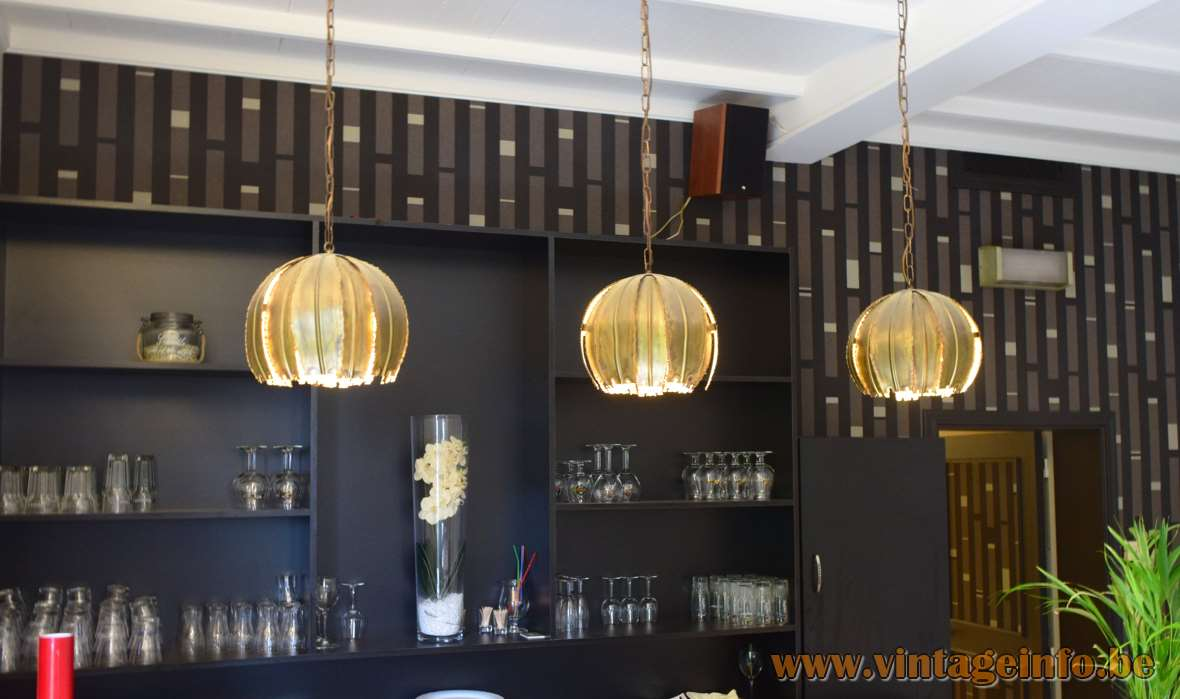 Svend Aage Holm Sørensen Pendant Lamps - Burned brass brutalist -Model 6404, 60s/70s