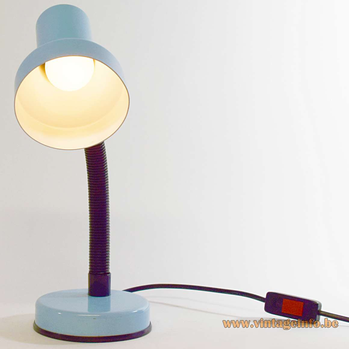 Veneta Lumi Gooseneck Desk Lamp light blue painted round base black gooseneck light blue lampshade 1980s