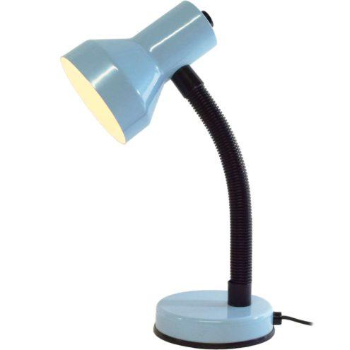 Veneta Lumi gooseneck desk lamp light blue metal base & lampshade ribbed black plastic tube 1980s Italy
