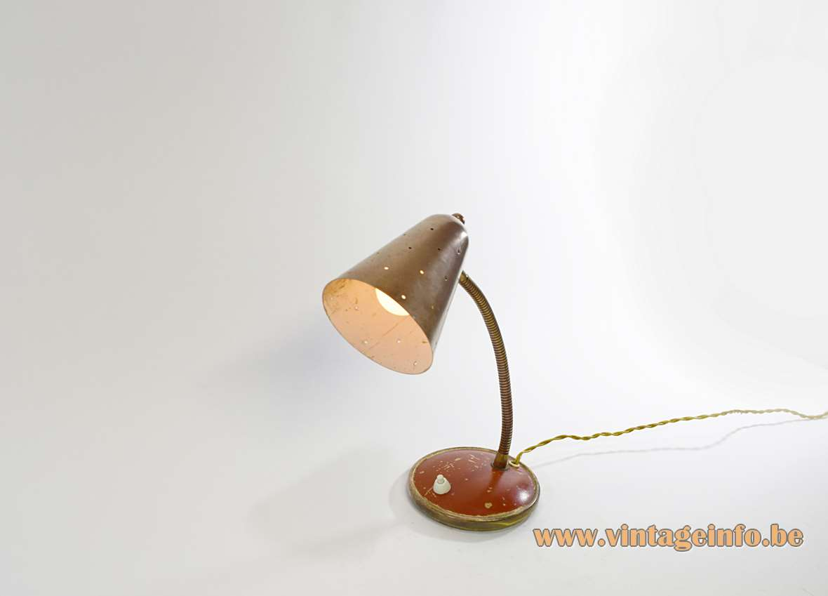 Vereinigte Werkstätten Brass Desk Lamp conical perforated lampshade red painted round base 1930s 1940s 1950s MCM