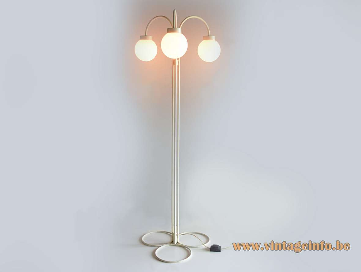 1960s white globes floor Lamp with 3 opal glass lampshades open circle base iron rods 1950s