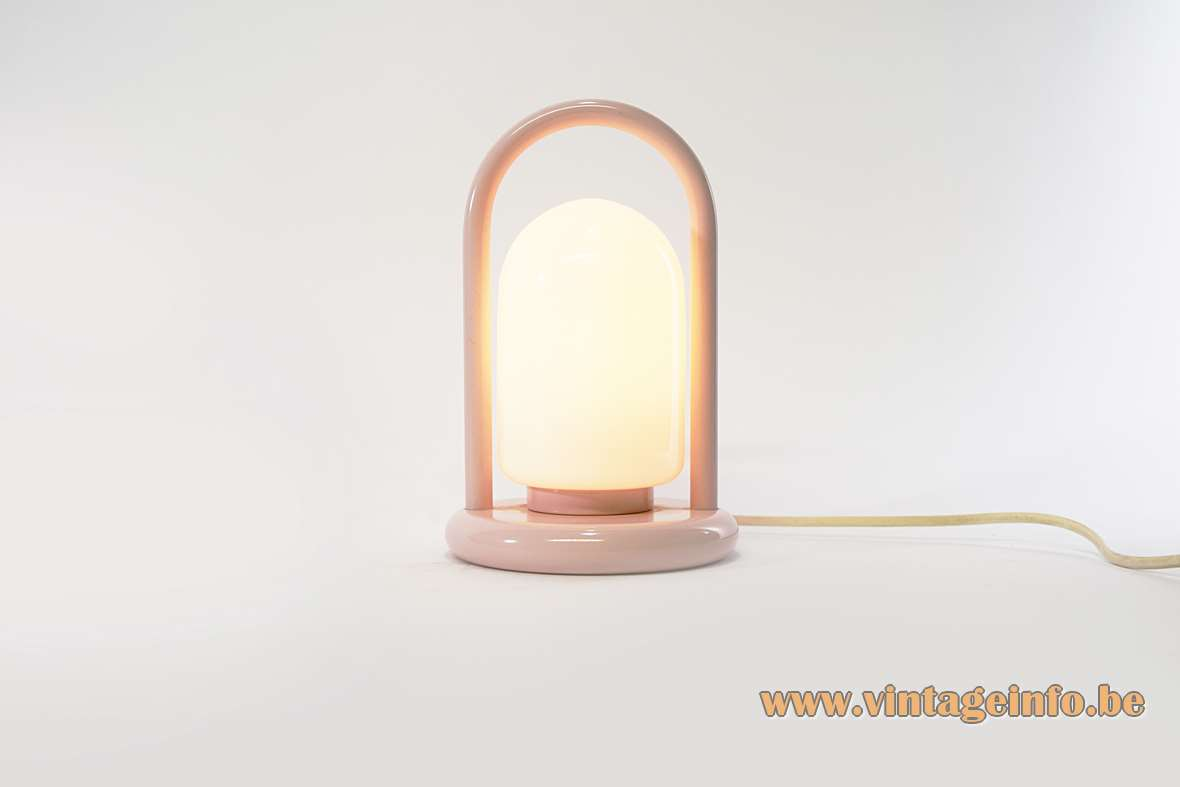 Handle table lamp white opal glass round base Tender Romolo Lanciani Tronconi 1980s pink Massive