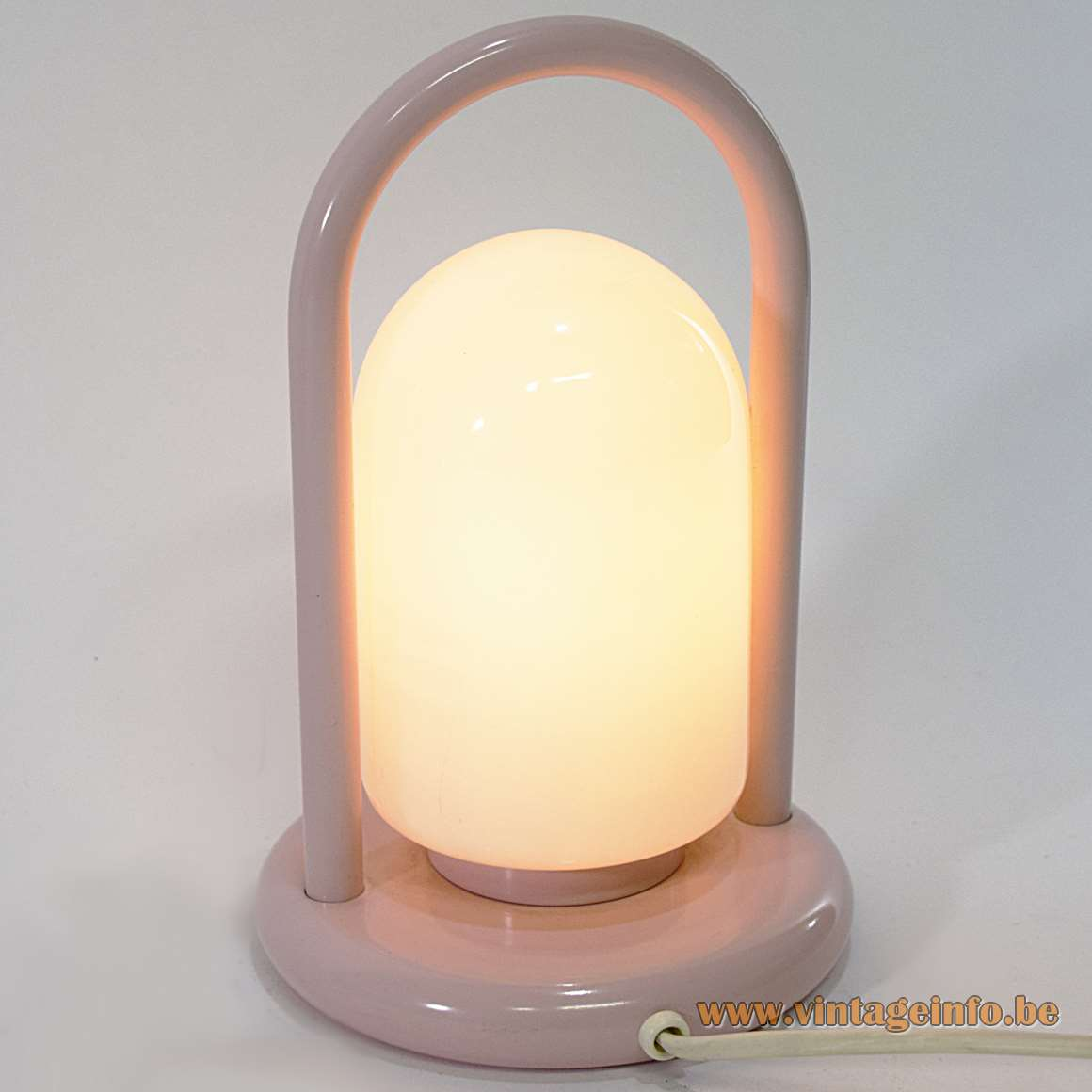1980s Pink Handle Table Lamp white opal glass round base Tronconi Tender style Romolo Lanciani Massive