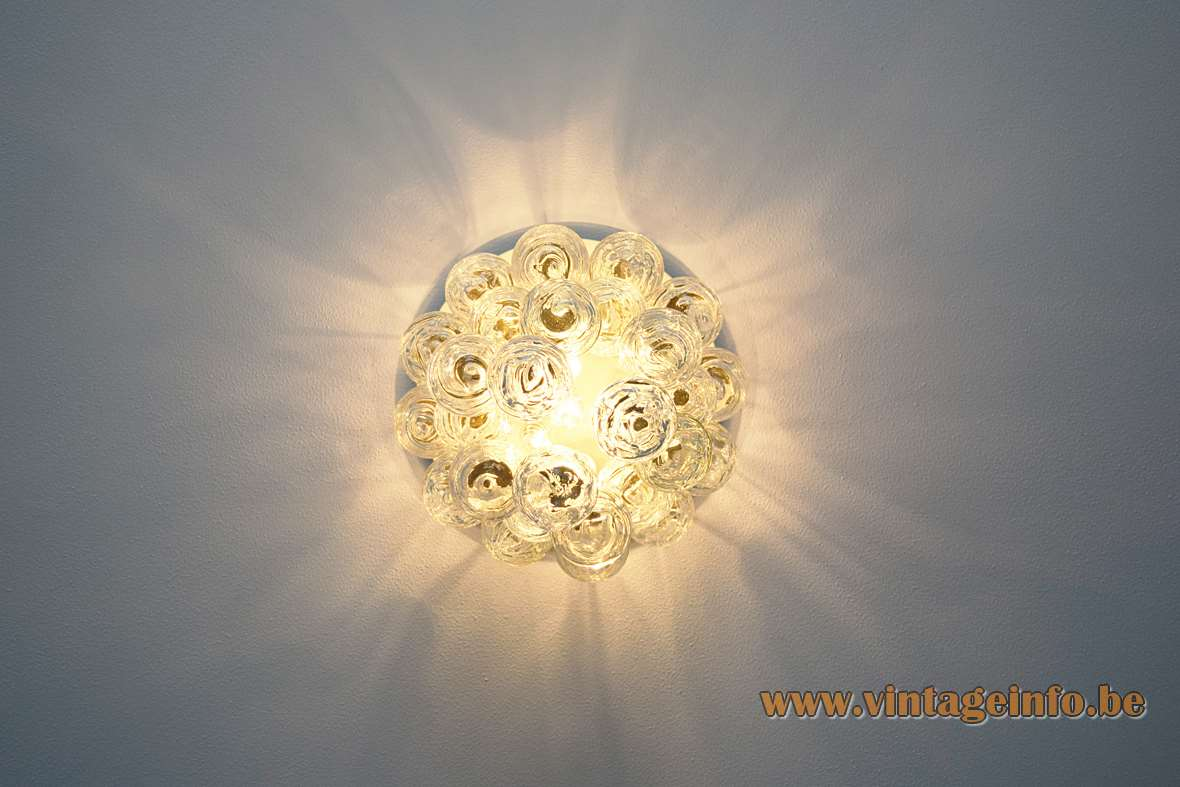 DORIA snowball flush mount 27 round white brass ceiling mount swirled glass globes 1960s 1970s Germany