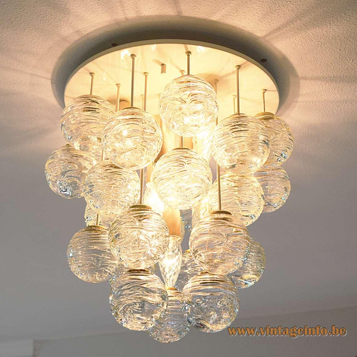 Doria Snowball Flush Mount 27 swirled glass globes balls brass round ceiling mount 1960s 1970s MCM