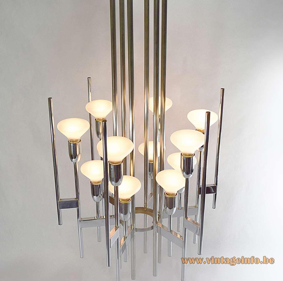 Gaetano Sciolari chrome tubes chandelier design long rods & slats 12 E14 lamp sockets 1960s 1970s Italy