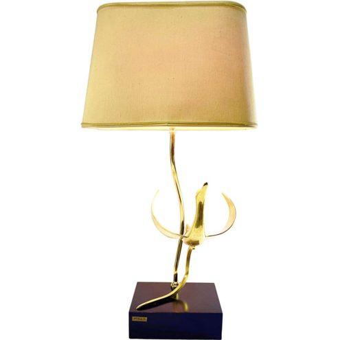 Brass bird table lamp design: Lanciotto Galeotti L' Originale 1970s 1980s Hollywood Regency black wood base Lancia