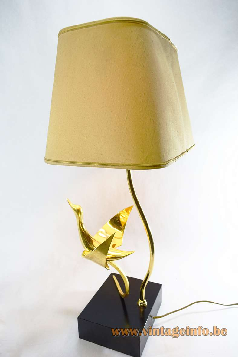 Lanciotto Galeotti brass bird table lamp square wood base black Formica Lancia L'Originale Italy 1970s 1980s