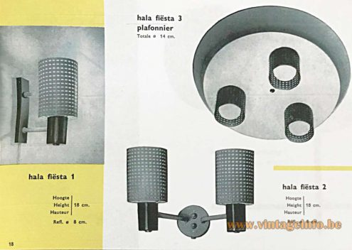 Hala Fiesta Lamps round metal perforated lampshades design: Busquet 1950s 1960s MCM catalogue picture