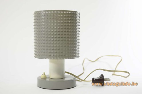 Hala Fiesta Table Lamp round grey painted metal base perforated round lampshade E14 design: Busquet 1960s