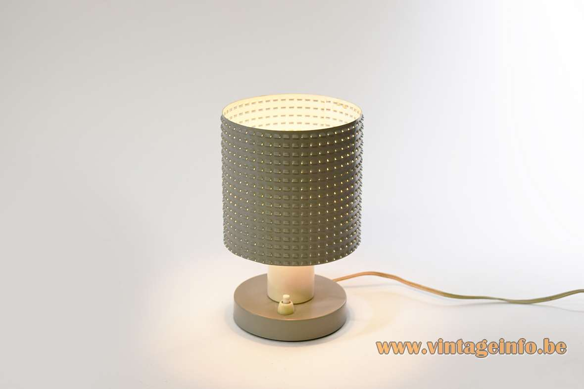 Hala Fiesta table lamp round grey metal base tubular perforated grid lampshade E14 socket 1950s 1960s