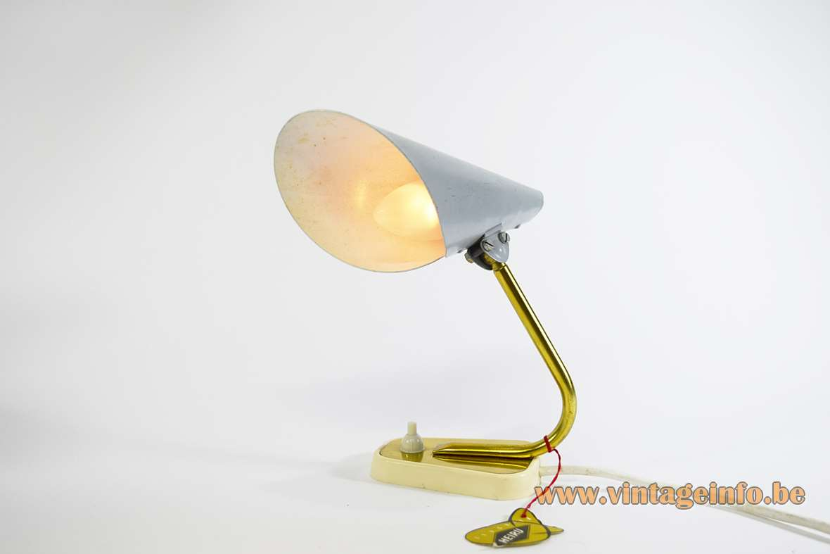 Heiru Leuchten Table Lamp conical lampshade gold anodized aluminium white plastic base brass rod 1960s MW radio MCM