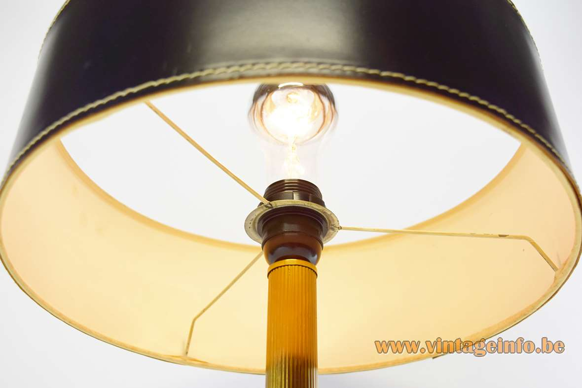 Black Leather Round Base Desk Lamp clad Jacques Adnet Hermès Delvaux ILG 1970s brass rod MCM