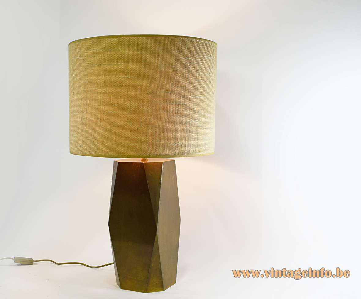 1980s brass geometric table lamp oblong hollow with a round fabric lampshade 1970s 1980s Massive Belgium