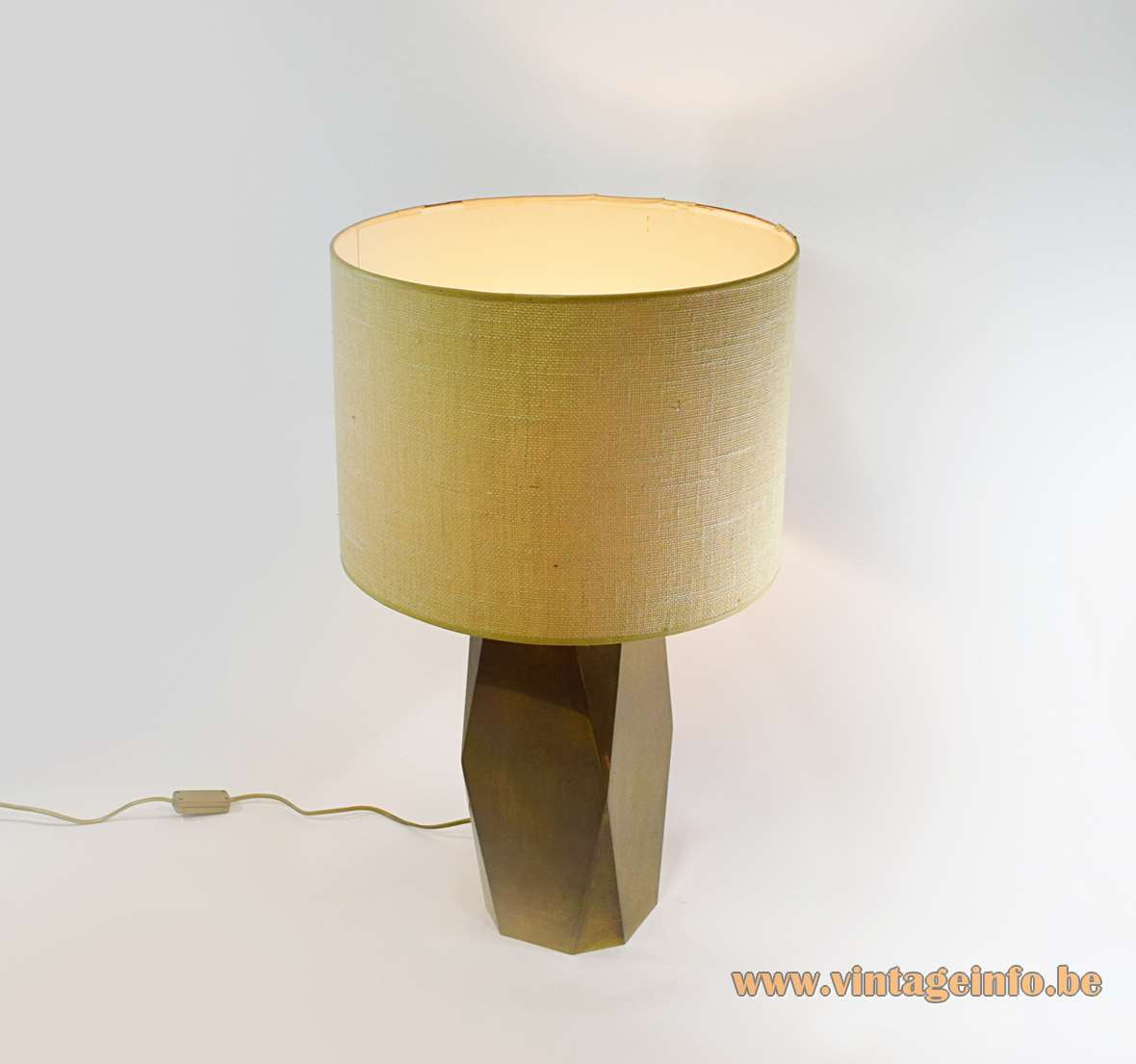 Brass table lamp geometric oblong hollow fabric lampshade 1970s 1980s Massive Belgium Hollywood Regency