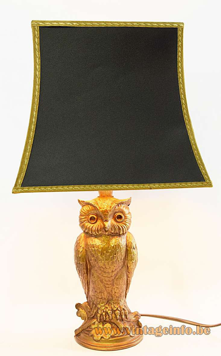 Owl table lamp gilded gold plated metal bird Loevsky & Loevsky USA black pagoda lampshade 1960s 1970s