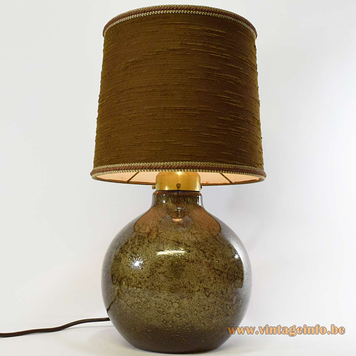 Peill + Putzler Bubble Glass Table Lamp brown glass globe bottle brass round lampshade 1970s MCM