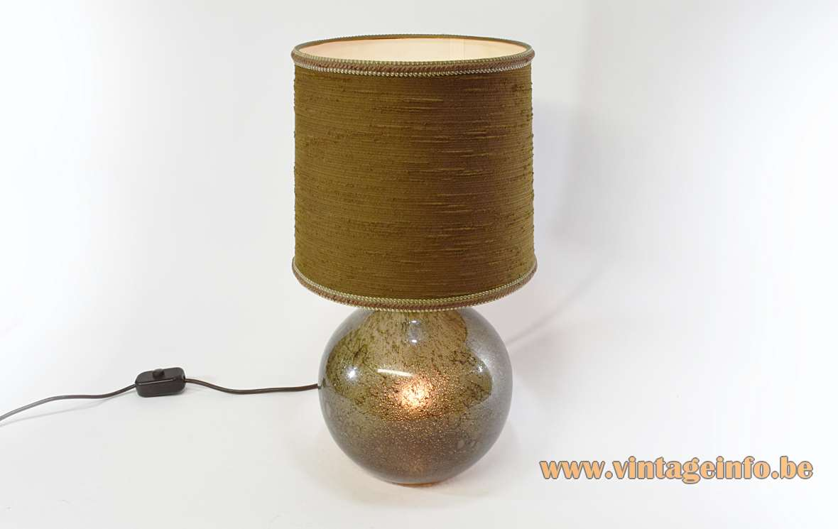 Peill + Putzler table lamp brown bubble glass globe bottle brass parts fabric lampshade 1970s MCM Mid-Century Modern