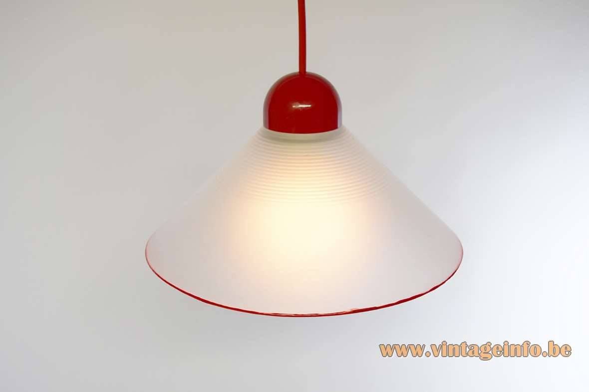 Peill + Putzler Red Rim Pendant Lamp frosted opal conical glass lampshade 1980s Germany