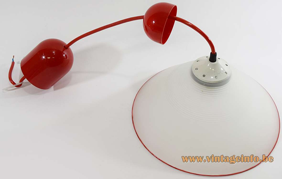 Peill + Putzler red rim pendant lamp in frosted opal conical glass E27 socket 1980s Germany