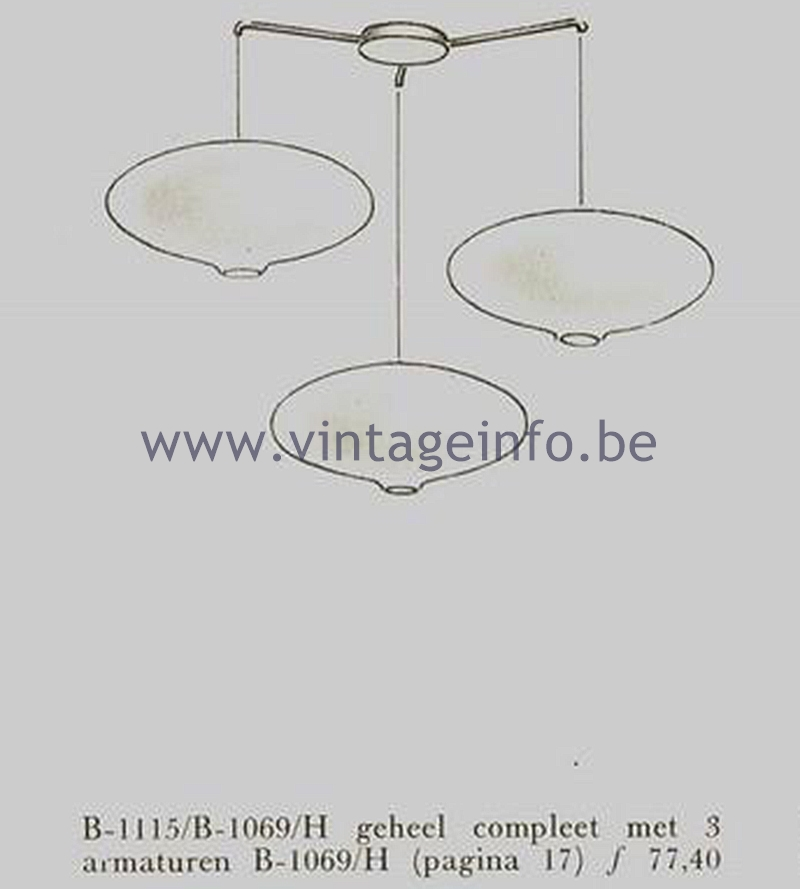 Raak 1950s Ceiling Lamp - Models B-1115, B-1069 - Catalogue picture